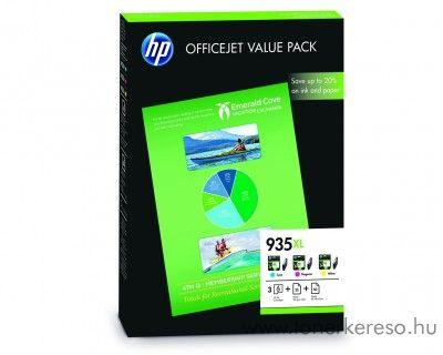 HP 935XL eredeti CMY tintapatron csomag + papír F6U78AE HP OfficeJet 6815 tintasugaras nyomtatóhoz