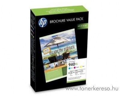 HP 940XL eredeti CMY tintapatron csomag + papír CG898AE HP Officejet Pro 8000 tintasugaras nyomtatóhoz