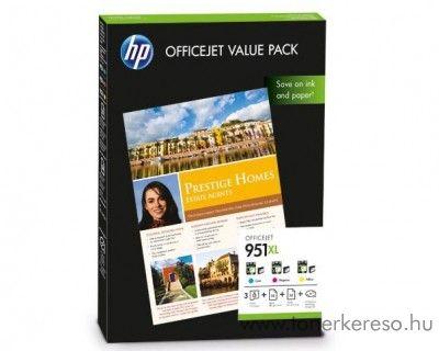 HP 951XL eredeti CMY tintapatron csomag + papír CR712AE