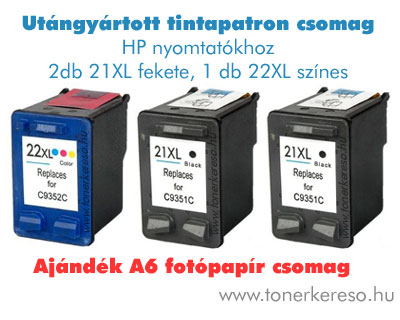 HP 21XL + HP22XL multipack ajándék fotópapírral HP Deskjet D1560 tintasugaras nyomtatóhoz