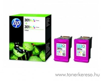 HP DeskJet 1000/1050 (301XL) 2db eredeti color patron D8J46AE HP DeskJet 2514 tintasugaras nyomtatóhoz