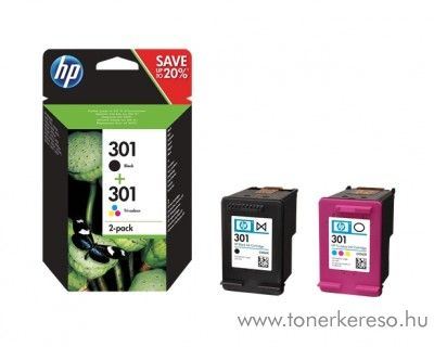 HP Deskjet 1050 (301) eredeti multipack B+CMY patron N9J72AE HP DeskJet 3052A tintasugaras nyomtatóhoz