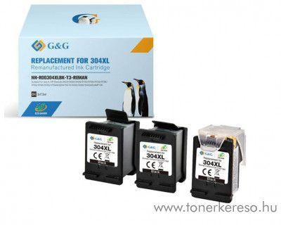 HP DeskJet 3720 (304XL) utángyártott 3db fekete tintapatron HP Deskjet 3730 tintasugaras nyomtatóhoz