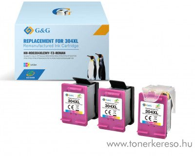 HP DeskJet 3720 (304XL) utángyártott 3db színes tintapatron HP Deskjet 3730 tintasugaras nyomtatóhoz