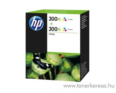 HP Deskjet D1660 (300XL) 2db eredeti color tintapatron D8J44AE HP DeskJet F2400 tintasugaras nyomtatóhoz