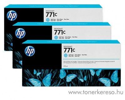 HP Djet Z6200 (771C) 3db eredeti light cyan tintapatron B6Y36A HP DesignJet Z6200 tintasugaras nyomtatóhoz