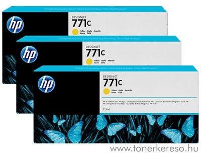 HP Djet Z6200 (771C) 3db eredeti yellow tintapatron B6Y34A HP DesignJet Z6200 tintasugaras nyomtatóhoz