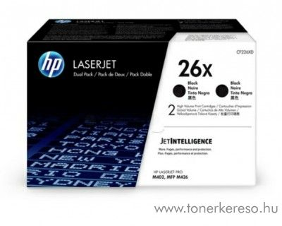 HP LaserJet Pro M402/M426 (26X) 2db eredeti black toner CF226XD HP LaserJet Pro M426fdn lézernyomtatóhoz