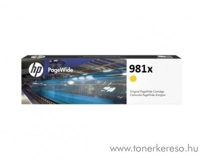 HP PW Enterprise 556dn (981x) eredeti yellow tintapatron L0R11A HP PageWide Enterprise Color Flow MFP 586z tintasugaras nyomtatóhoz