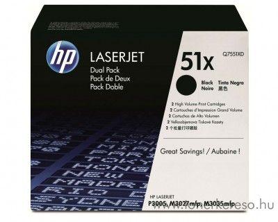HP Q7551XD dupla toner HP LaserJet P3005X lézernyomtatóhoz