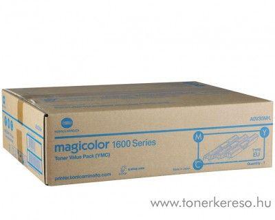 Konica Minolta MagiColor 1600 eredeti CMY toner pack A0V30NH Minolta Magicolor 1650EN lézernyomtatóhoz