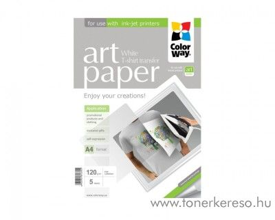 T-Shirt Transzfer papír világos pólóhoz 5 lap ColorWay