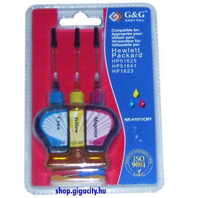 HP 1823/51625/51641 utántöltő színes 3x10ml